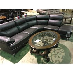 RSF 3 PIECE BROWN LEATHER SECTIONAL WITH CHAISE