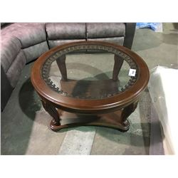 ROUND MAHOGANY GLASSTOP COCKTAIL TABLE