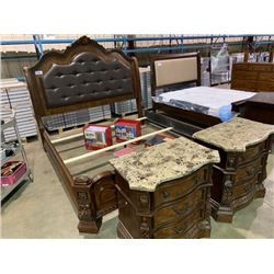 ASHLEY MAHOGANY  CARVED INLAY SLEIGH KING SIZE 6 PIECE BEDROOM SUITE, HEAD AND