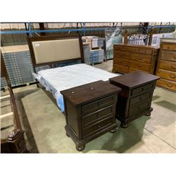 ASHLEY MAHOGANY AND FABRIC QUEEN SIZE BEDROOM SUITE, INCLUDES, HEADBOARD, FOOTBOARD , RAILS