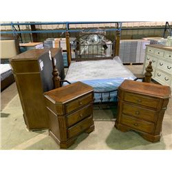 ASHLEY QUEEN SIZE POST & WROUGHT IRON 8 PIECE BEDROOM SUITE, INCLUDES HEAD AND FOOTBOARD,