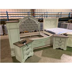ASHLEY SIGNATURE  KING SIZE DISTRESSED 8 PIECE BEDROOM SUITE, INCLUDES CLOTH PADDED HEADBOARD,
