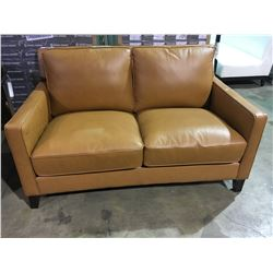 BUTTERSCOTCH COLOR LEATHER MODERN LOVESEAT