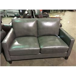 GREY LEATHER MODERN LOVESEAT