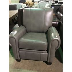 GREY LEATHER MODERN RECLINING ARM CHAIR