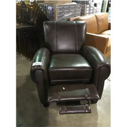 BROWN LEATHER RECLINING ARM CHAIR
