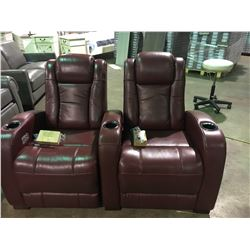 RED LEATHER 2 SEATER POWER RECLINER THEATER SEATING WITH CHARGE STATION