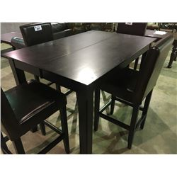 DARK WOOD CONTEMPORARY BAR HEIGHT DINING TABLE