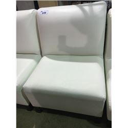 WHITE LEATHER MODERN OVERSIZE EASY CHAIR
