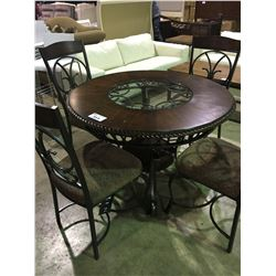 5 PIECE CARVED  ROUND MAHOGANY AND WROUGHT IRON AND GLASS DINING TABLE , WITH 4 MATCHING CHAIRS