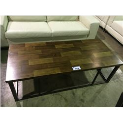 2 TONE WOOD AND METAL COFFEE TABLE SET
