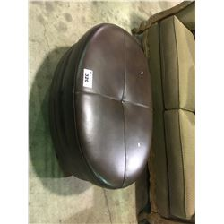 BROWN LEATHER STUDDED OVAL OTTOMAN