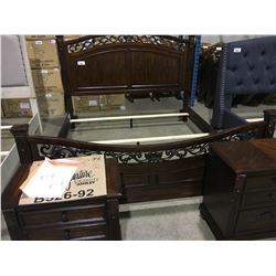 ASHLEY KING ORNATE BEDROOM SUITE INCLUDES, HEADBOARD, FOOTBOARD, RAILS, AND 2, 3 DRAWER