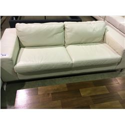 WHITE LEATHER MODERN 2 SEATER SOFA