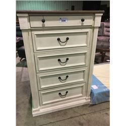 WHITE AND BROWN 5 DRAWER HIGHBOY DRESSER