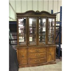 OAK 3 DRAWER 2 DOOR BUFFET WITH GLASS DOOR HUTCH