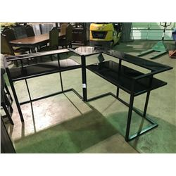 ASHELY SIGNATURE BLACK, METAL AND GLASS 2 SECTIONS CORNER DESK