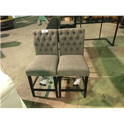 A PAIR ASHLEY SIGNATURE CHARCOAL UPHOLSTERED BAR STOOL
