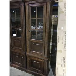 ASHLEY WALNUT GLASS DOOR LEFT AND RIGHT ENTERTAINMENT TOWER (BOXED)