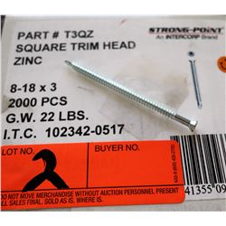 "1 Box #8-18x3"" Square Trim Head Screws, Zinc - Total Screws = 2,000"