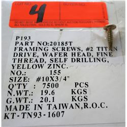 "1 Box #10x3/4"" Framing Screws, Yellow Zinc - Total Screws = 7,500"