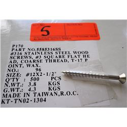 "1 Box #12x2-1/2"" Flat Head Wood Screws, Stainless Steel - Total Screws = 500"