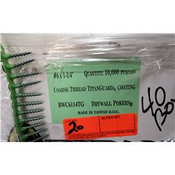 "40 Boxes #6x1-1/4"" Drywall Pokers, Titanguard Coating - Total Screws = 400,000"