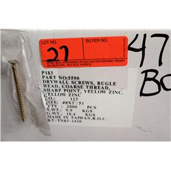 "47 Boxes #8x3"" Drywall Screws, Yellow Zinc - Total Screws = 94,000"