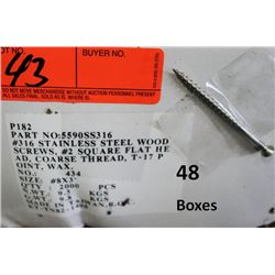 "48 Boxes #8x3"" Wood Screws, Stainless Steel - Total Screws = 96,000"