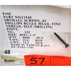 "48 Boxes #6x1-1/4"" Drywall Screws, Phillips Bugle Head - Total Screws = 384,000"