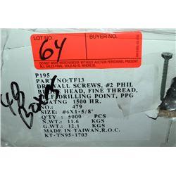 """48 Boxes #6x1-5/8"""" Drywall Screws, PPG Coating - Total Screws = 240,000"""