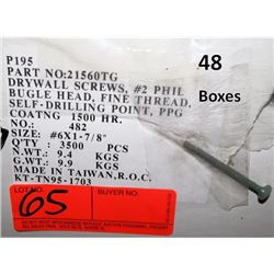 "48 Boxes #6x1-7/8"" Drywall Screws, PPG Coating - Total Screws = 168,000"