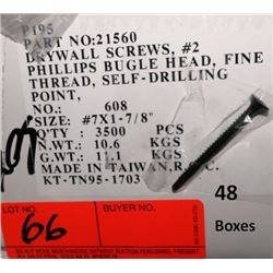 "48 Boxes #7x1-7/8"" Drywall Screws, Phillips Bugle Head - Total Screws = 168,000"