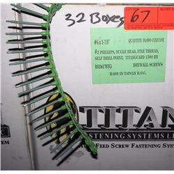 "32 Boxes #6x1-7/8"" Drywall Screws, Titanguard 1500 HR - Total Screws = 320,000"