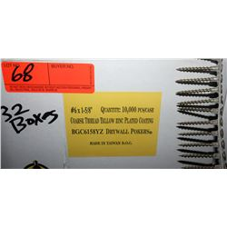 "32 Boxes #6x1-5/8"" Drywall Pokers, Yellow Zinc - Total Screws = 320,000"