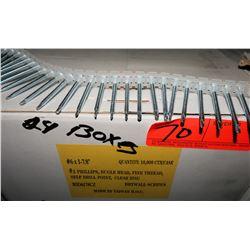 "24 Boxes #6x1-7/8"" Drywall Screws, Clear Zinc - Total Screws = 240,000"