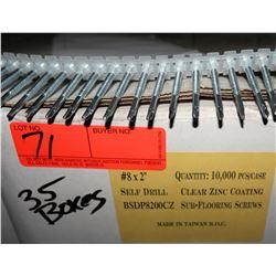 "35 Boxes #8x2"" Sub-Flooring Screws, Clear Zinc - Total Screws = 350,000"