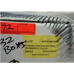 "32 Boxes #6x1-7/8"" Drywall Screws, Clear Zinc - Total Screws = 320,000"