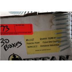 "30 Boxes #8x1-1/2"" Exterior Sheeting Screws, Clear Zinc - Total Screws = 300,000"