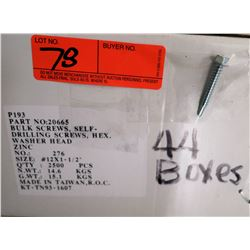 "44 Boxes #12x1-1/2"" Hex Washer Head Screws, Zinc - Total Screws = 110,000"