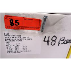 "48 Boxes #12x1-1/2"" Self Drilling Screws, Hex Washer Head, Zinc - Total Screws = 120,000"