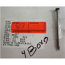"""4 Boxes #8x3"""" - Total Screws = 8,000"""
