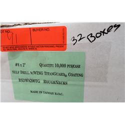 "32 Boxes #8x2"" Self Drill Wing Screws, Titanguard - Total Screws = 320,000"