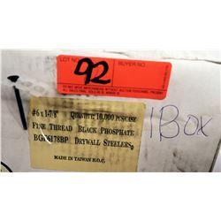 """1 Box #6x1-7/8"""" Drywall Steelers, Black Phosphate - Total Screws = 10,000"""