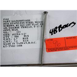 """48 Boxes #12x4-1/2"""" Wood Screws, Stainless Steel - Total Screws = 24,000"""