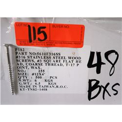 "48 Boxes #12x4"" Wood Screws, Stainless Steel - Total Screws = 24,000"