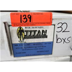32 Boxes 16D #3-1/2x.165 Ring Shank Framing Nails, Stainless Steel - Total Nails = 25# Ctn