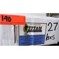 27 Boxes 8D #2-1/2x.134 Ring Shank Framing Nails, Stainless Steel - Total Nails = 25# Ctn