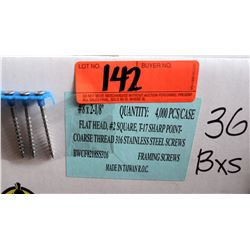 "36 Boxes #8x2-1/8"" Framing Screws, Stainless Steel - Total Screws = 144,000"