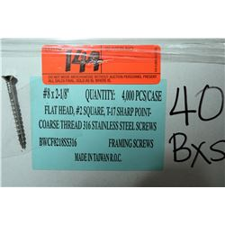 "40 Boxes #8x2-1/8"" Framing Screws, Stainless Steel - Total Screws = 160,000"